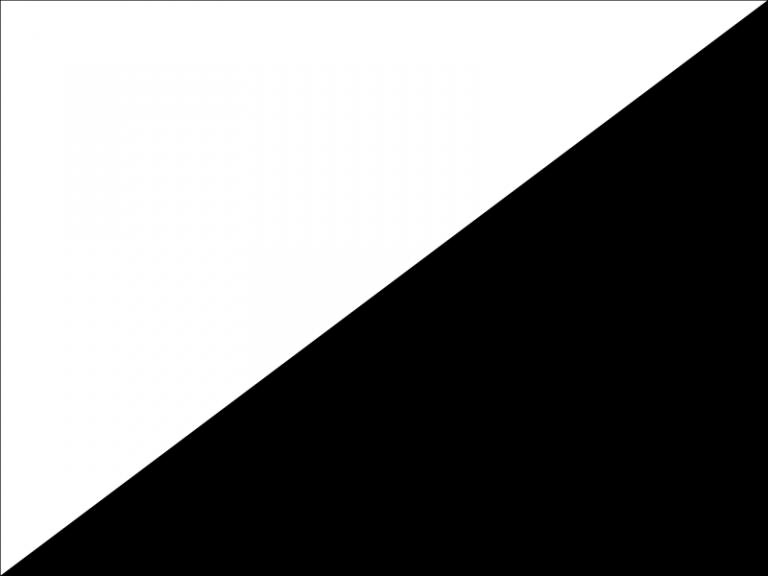 Een diagonaal doorgesneden liggende rechthoek met rechtsonder zwart en linksboven wit