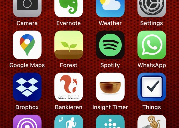 Een screenshot van de homescreen van een iPhone, met verschillende app-iconen
