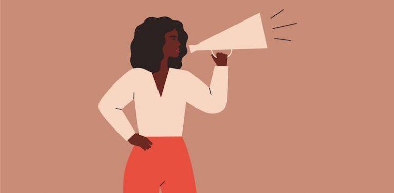 Een getekende afbeelding van een vrouw van kleur met een megafoon